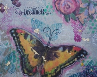 "Butterfly Inspirational Mixed Media Painting ""Dreamer"" FREE SHIPPING"