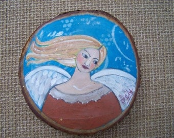 Angel Painting Contemporary Folk Art on Natural Wood Round
