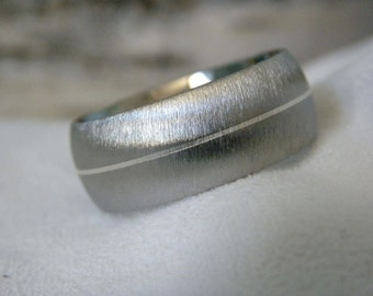 Titanium Ring, Silver Pinstripe Band, Wedding Ring Frost Finish
