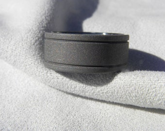 Titanium Ring, Wedding Band, Flat with Grooves, Sandblasted