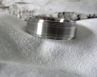 Titanium Ring Double White Gold Pinstripe Inlay Double Stepped Edges