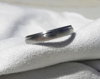 Titanium Ring Single Offset Groove Wedding Band Domed Profile