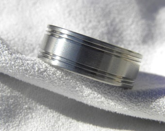 Titanium Ring or Wedding Band Cut Grooves Satin