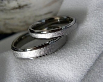 Titanium Ring or Wedding Band SET, Frosted, Flat Stepped Profile