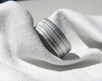 Titanium Ring or Wedding Band Silver Inlay Stripes Unique