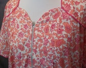 RESERVED for KATIE Pink Roses Floral Cotton Housedress Daydress Dress Nip N Tuck B52 Vintage 40s 2X Plus Size
