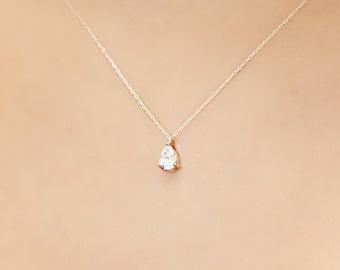Minimalist Crystal Solitaire Wedding Necklace, Bridesmaid Necklace