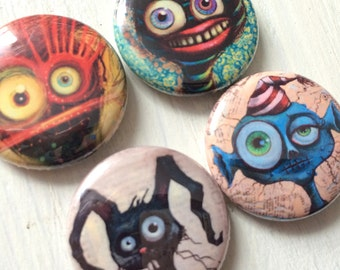 """BUTTONS - Nice Monsters - set B, set of 4 - 1"""" pinback, creepy fun, kids, silly, gift, favor"""