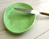 Mint Platter in FOULARD pattern - small oval platter - Wobbly Plates Series