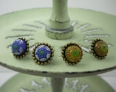 Vintage Glass Post Earrings Molded Hand Painted Small Rare 1940's Era Made in Japan Blue or Green in Brass Beaded Post Settings You Choose