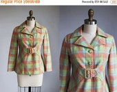 VALENTINES DAY SALE 1970s belted Pastel plaid wool coat with belt / xs - s