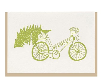 """Letterpress """"Winter Bicycle"""" Greeting Card"""