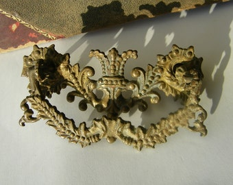 Cast Iron Drawer Pull One Vintage Bronze Plate Crown Design