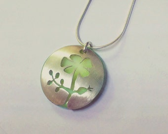 Sterling Silver Flower Pendant with Lime Green Mother of Pearl