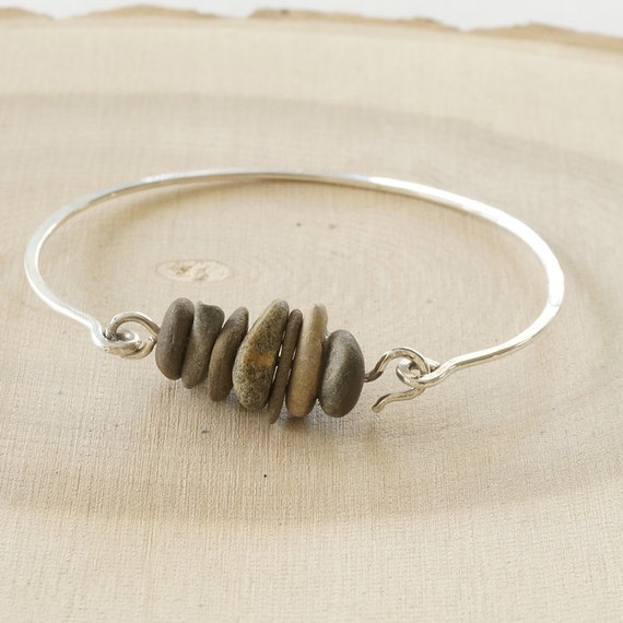 Sterling Silver and Beach Pebble Bracelet