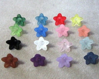 Frosted Lucite Acrylic Flower Cap Bead Mix 12mm x 18mm Choose Your Colors 410