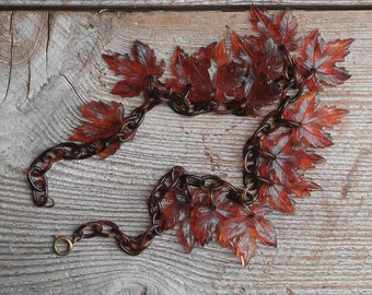 Antique Maple Leaves Necklace, Vintage Celluloid Charm Necklace, Collectible Jewelry, Autumn Fashion,  Jewelry