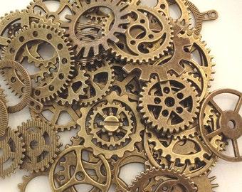 SteamPunk Gears Antique Bronze Steam Punk 200 gears / jewelry gears / scrapbook gears / craft gears - wholesale