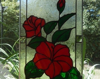 Red Hibiscus Stained Glass Panel