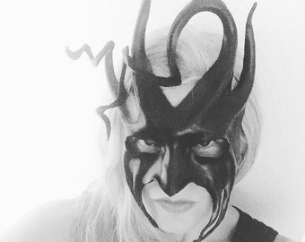 Devilish Jester or Tree Woods Forest Black Leather Mask with Spirals and Horns sophisticated black tie mask