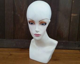 Vintage Molded Female Mannequin Head and Shoulders