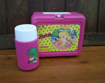 Vintage 1988 Pink Hollywood Barbie Lunch Box and Thermos