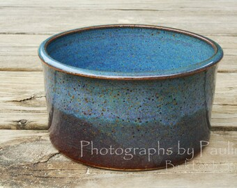 Blue Stoneware Ceramic Crock