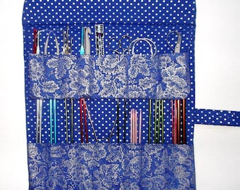 Blue Silver Knitting Needle Case, Floral Silver Crochet Hook Holder, Polka Dot Double Pointed Needle DPN Storage, Makeup Brushes Organizer