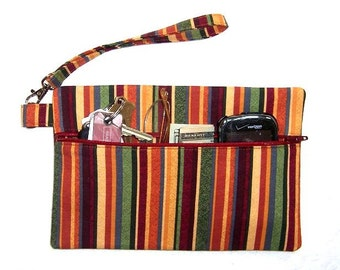 Maroon Gold Striped Wristlet, Green Orange Clutch, Blue Stripes Wallet, Womans Small Purse, Front Zippered Makeup Case, Camera or Phone Bag
