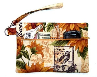 Sunflower Print Wristlet Wallet, Gold Brown Birds Clutch, Front Zippered Purse, Autumn Theme Floral Makeup Case, Camera Phone or Gadget Bag