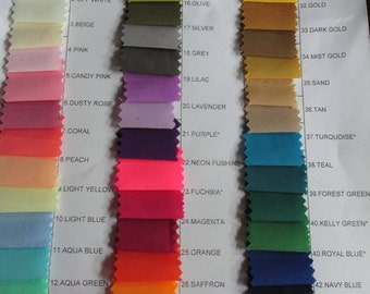 DDNJ Cotton Chemise , Skirt and Bloomers Color Chart For Customer Use Only NOT for SALE
