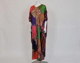 vintage caftan / Vintage 60's Boho Colorful Caftan Maxi Dress