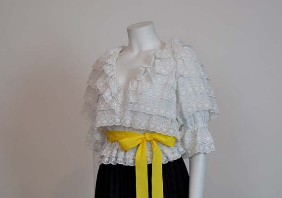 1960s dress / The Gypsy 2pc set Vintage 60s Eyelet Blouse and Peasant Maxi Skirt