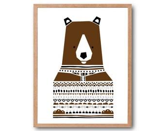 Nursery print, Brown Bear Sweater Art Print, Woodland Nursery, Bear Print, Animal Illustration, Geometric print, Children Room, Kids room