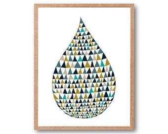 Waterdrop Art Print, wall art, geometric print, stylish kids room art, Children room art