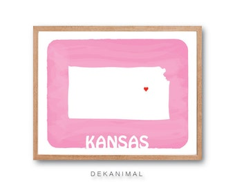 KANSAS Map - Baby Pink - Personalized Custom Color Watercolor Style Love State Map Wedding Birthday Anniversary GIft Children Kids Wall Art