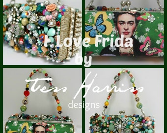 FRIDA Kahlo Beaded Evening Bag . Frida Wearable Art Bag . Clutch Bag . Beaded Evening Clutch . OOAK Art Bag, Sparkling Evening Bag