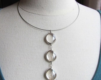Clear stained glass tiered choker