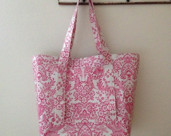 Beth's Pink Paradise Oilcloth Multi Market Tote Bag