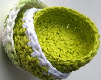 Crochet Baskets, Set of 3 Baskets, Green Home Decor, Wall Baskets