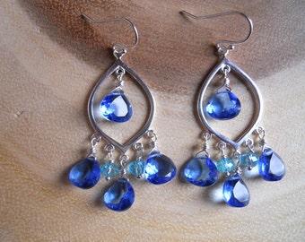 Serenity Blue, Tanzanite Blue Chandelier Earrings, Blue Quartz earrings, Sparkling Chandelier earrings, Boho hoop, Gemstone Earrings