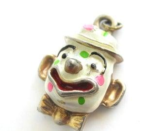 Vintage Enamel Clown Face Charm - Circus Clown Jewelry