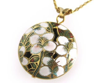 1970s Cloisonné Pendant with Floral Design - Green, White and Deep Red Floral Enamel / Puffy Charm Necklace