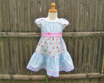 Baby girl tiered dress, pink roses, blue dress, 18 Months, peasant dress, ready to ship, summer dress, baby gift, party dress, shabby rose