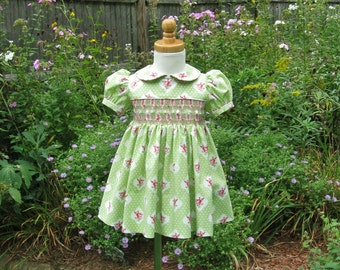 Hand smocked dress, shabby pink roses on green, baby, infant, toddler, ready to ship, OOAK, size 18 months, heirloom, special occasion dress