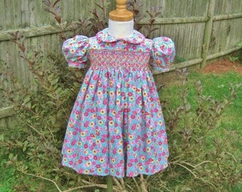 Toddler smocked dress, rose pink, yellow flowers, size 1T, girls dress,blue background, ready to ship, classic, handmade, party dress, OOAK