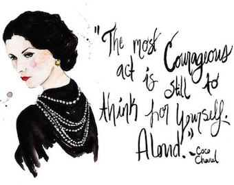 Coco Chanel portrait and quote Print of Original Watercolor Fashion Illustration