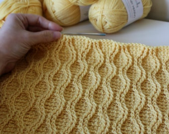 CROCHET PATTERN Cable Tryst Throw - Make to Any Size - Pattern PDF