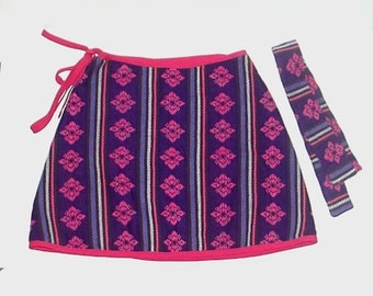1980s skirt / vintage 80s skirt / South American / extra small / Purple and Pink Andes Tribal Wrap Skirt