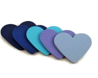 Set of 50 Two Inch Hearts Paper Die Cut  2 inch Hearts  in  Jazzy Blues